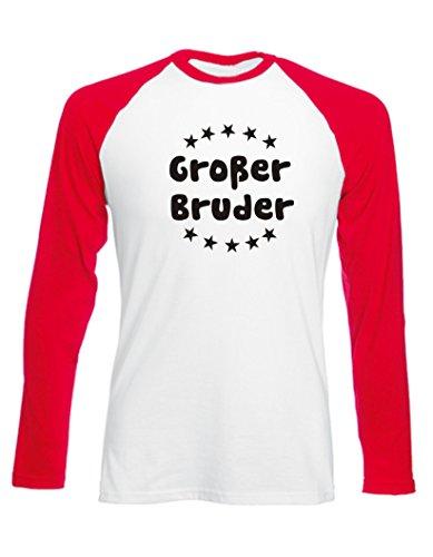 Kinder Baseball T-Shirt langarm (Farbe weiss/rot) (Größe 152/164) Großer Bruder