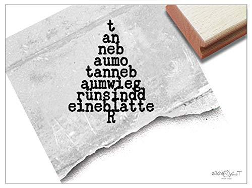 Stempel Weihnachtsstempel TYPO-BAUM Tannenbaum mit Text - Motivstempel Weihnachten Karten Servietten Geschenkanhänger Weihnachtsdeko - zAcheR-fineT