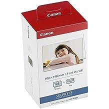 Canon KP-108IN - Papel fotográfico y cartucho de tinta original para Selphy CP, color