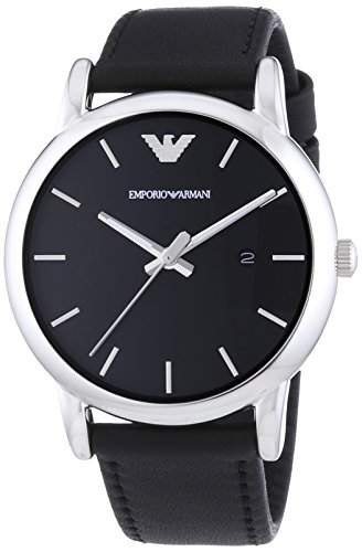 Emporio Armani Men's Quartz Watch with Black Dial Analogue Display and Black Leather Bracelet AR1692