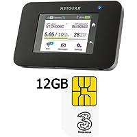 NETGEAR AC790-100EUS Aircard AC790 Wi-Fi Mobile Broadband Hotspot with 3 Trio Pay As You Go Moblie Broadband Sim Pack 12 GB preloaded