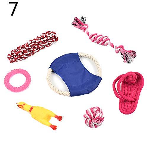 Lai-LYQ Hundespielzeug-Set, Knotenseil, Tennisball, Bär, Obst, Kauspielzeug für Hunde, 15 Stück