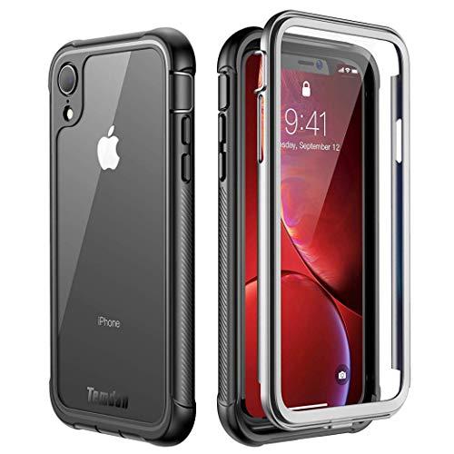 Temdan iPhone Xr Hülle, Stoßfest Transparent Hülle 360 Rundumschutz mit Eingebautem Displayschutz Robust Bumper Handyhülle Schutzhülle für Apple iPhone Xr 6,1 Inch 2018 (Schwarz Klar)