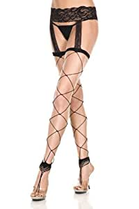Porte-jarretelle en spandex avec bas noirs à résille large sans pied Music Legs