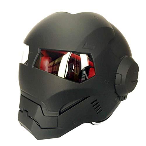 TLPSB Erwachsenen Motorrad Helm Full Face Helm/Full Face Flip Front Up/D.O.T Zertifiziert Iron Man Transformers Straßenrennen Mattschwarz (M, L, XL, XXL),XL59~60cm (Einfach Transformer Kostüm)