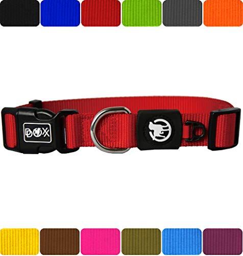 DDOXX Hundehalsband Nylon in vielen Farben & Größen für kleine & große Hunde   Halsband Hund Katze Welpe   Katzenhalsband klein   Hunde-Halsbänder breit Leuchtend   Rot, S