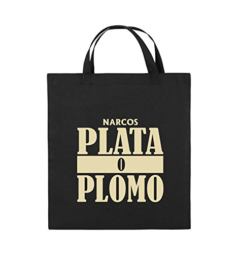 Comedy Bags - PLATA O PLOMO - NARCOS - Jutebeutel - kurze Henkel - 38x42cm - Farbe: Schwarz / Pink Schwarz / Beige