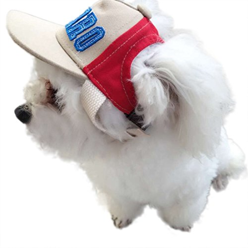 feiling HaustierBaseball Hut für Katzen Welpen Kostüm Zubehör Sunbonnet Kleine Hunde Kopfbedeckung Stirnband Sonnenhut Einstellbare Hundecap Mütze mit Ohr-Löcher (S, Rot)