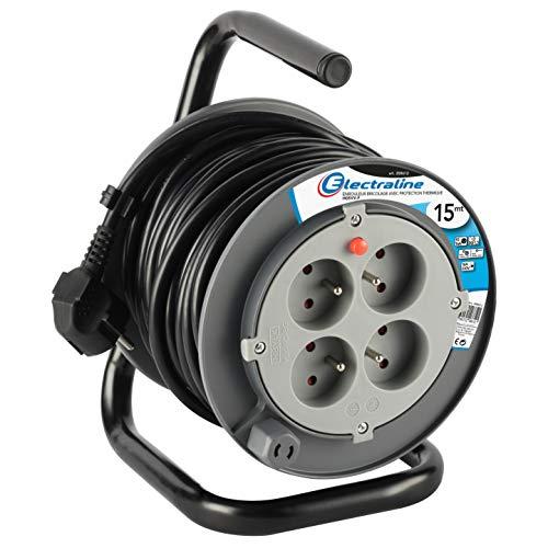 Electraline 208612 Rallonge Prolongateur électrique 15 m avec enrouleur 4 Prises 16 A section 3G1,5 mm² Gris