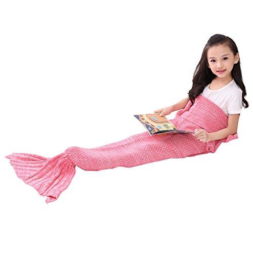BIBO La manta hecha punto de la cola de la sirena de ganchillo para toda la temporada, suave y cálida manta saco de dormir en el sofá cama Sala de estar para los niños (Kid Rosa