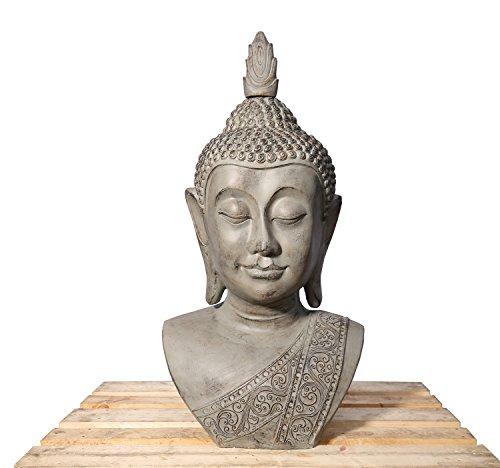 Lüllmann XXL Buddha Kopf 113cm Skulptur Steinoptik Frostfest Indoor-Outdoor Buddha 406150