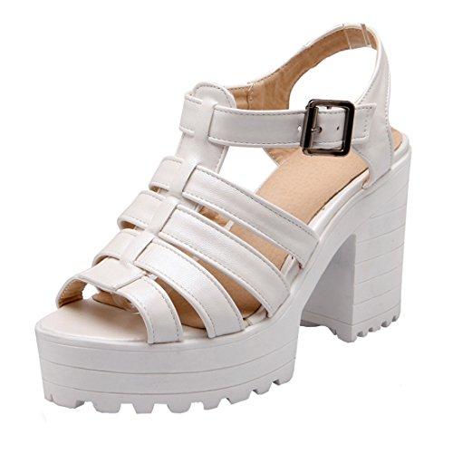 UH Femmes Sandales Gladiateur à Talons Moyen Bloc avec Plateforme Slingback Peep Toe avec Boucles Blanc