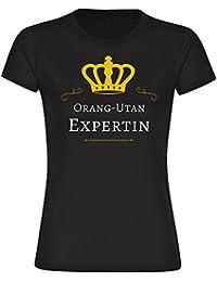 T-Shirt Orang-Utan Expertin schwarz Damen Gr. S bis 2XL