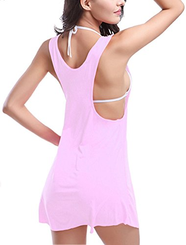 Donna Vestito Dalla Spiaggia Bikini Cover-Up Senza Maniche Copricostumi e Parei Di Pesco Rosso Pink