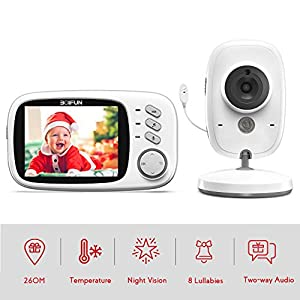 Baby Monitor with Camera, BOIFUN with 3.2'' LCD Screen 300 Meters 2.4Ghz Wireless Stable Connection Rechargeable Battery VOX Night Vision Temperature Monitor Two-Way Talk Baby/Elderly/Pet   2