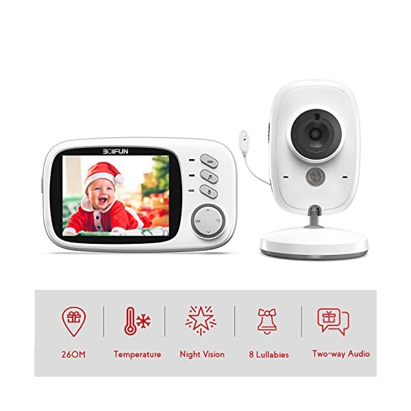 Baby Monitor with Camera, BOIFUN with 3.2'' LCD Screen 300 Meters 2.4Ghz Wireless Stable Connection Rechargeable Battery VOX Night Vision Temperature Monitor Two-Way Talk Baby/Elderly/Pet BOIFUN 🐻 【Fantastic Picture even in Night Vision Mode】 --- Clear picture quality, even in night vision mode, you can see the baby's subtle movements, intellegent infrared night vision, 2-5 meters distance, automatically switch to night vision mode when the light drops, automatically recover after the light is brightened. 🐻 【Highly clear Two-Way Talk Quality】 --- High quality sound and real time two way talk, Respond promptly when your baby needs you, let the baby know that you are always with him. 🐻 【Enhanced temperature monitoring】---Real time and precise baby monitor sensor, the error does not exceed 1°C. It is our responsibility to help you know the temperature of your baby's room and assist you keep baby comfortable at all time. 1