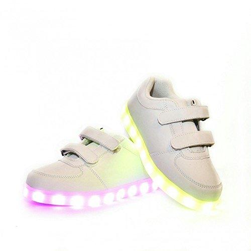 Envio-24-Horas-Usay-like-Zapatillas-LED-Con-7-Colores-Luces-Carga-USB-Blanco-Unisex-Nios-Talla-25-hasta-34-Envio-Desde-Espaa
