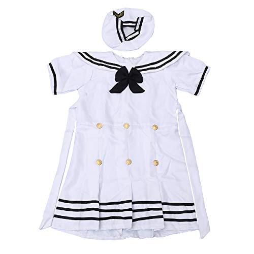 Amosfun Marineblau-Kostüm für Mädchen, Weiß/Schwarz, 110 cm