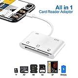 Lector de Tarjetas SD,XD,TF,CF,M2 for i Phone i Pad, Lector de Tarjetas de Memoria 6 en 1 Adaptador de cámara para Phone X / 8/6 / 6s / 6 Plus / 7/7 Plus/Pad Mini/Air/Pro, iOS 10 o up (Blanco)