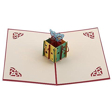 MagiDeal Carte de Voeux Pop-up 3D Découpage avec Enveloppe pour Mariage Anniversaire - Boîte Cadeau