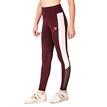Fitinc Lycra Black Stylish Leggings for Girls/Women with Both Side White Stripe & Black Net Design – Stretchable, Comfortable & Absorbent Gym tights for Workout and Casual Wear