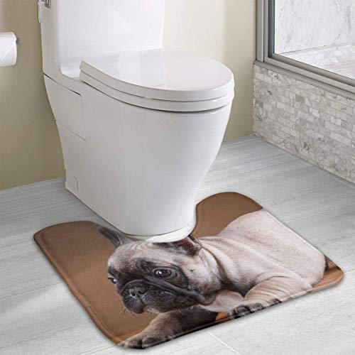 Vidmkeo French Bulldog Dogs Puppy Contour Bath Rug, U-Shaped Polyester Toilet Floor Mat Non Slip Bathroom Shower Carpet (Bulldog-gitarre)