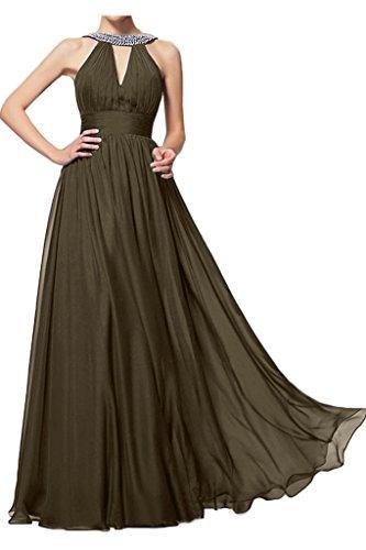 ivyd ressing Femme Style plein a ligne pierres fixe robe longue Prom Party robe robe du soir Marron