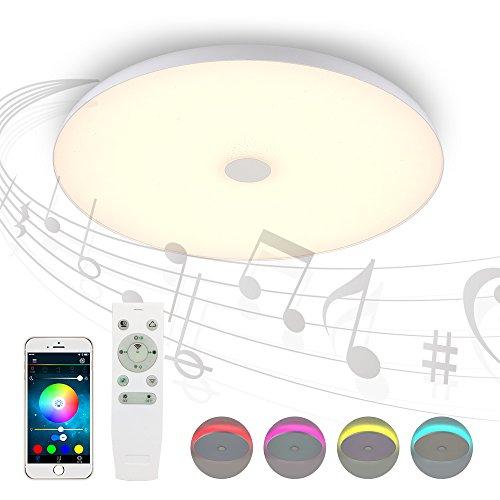 Bluetooth Deckenleuchte Umgebungslicht 36W ⌀40 CM mit Fernbedienung APP-Steuerung und Bluetooth Lautsprecher Klar Hohes und niedriges Volumen für Party,Wohnzimmer, Schlafzimmer JD5022-36W