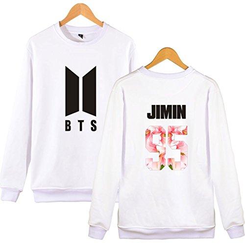 SIMYJOY AmantsBTS Sweats KPOP Pulls BTS Collège Hip Hop Sweat Shirt Pour Hommes Femmes Adolescents blanc Jimin 95