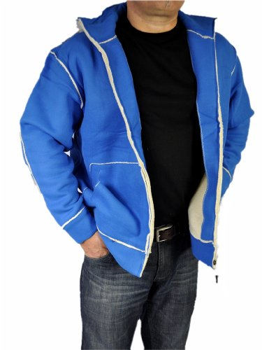 Herren Outdoor Jacke Sport Fleecejacke mit Teddyfell 6 Farben Royalblau