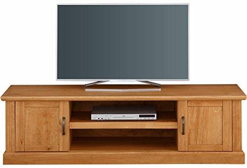 Mischa TV-Bank Board Lowboard Fernsehtisch Fernsehschrank 160x45 cm Landhaus Kiefer massiv 2 Türen 2 Fächer Natur (gebeizt geölt) - Kiefer-plasma-tv