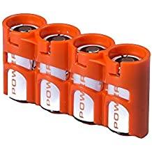 Storacell by Powerpax Slimline CR123 4-Pack recargable Caddy, color naranja