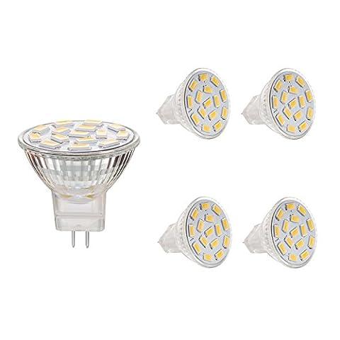 Bogao MR11 GU4.0 3.5W LED Light Bulbs , Equivalent to 25-35W Halogen Lamps , GU4.0 Base AC/DC 12V ,350 LM , 120° Flood Beam , Warm White , Recessed Lighting, Track Lighting ,(3000K) Pack of 4