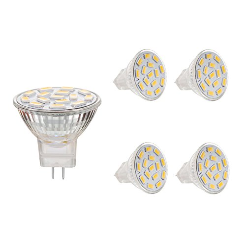 Bogao MR11 GU4.0 3.5W LED Light Bulbs, Equivalent to 25-35W Halogen Lamps , GU4.0 Base AC/DC 12V ,350 LM , 120° Flood Beam , Warm White , Recessed Lighting, Track Lighting ,(3000K) Pack of 4