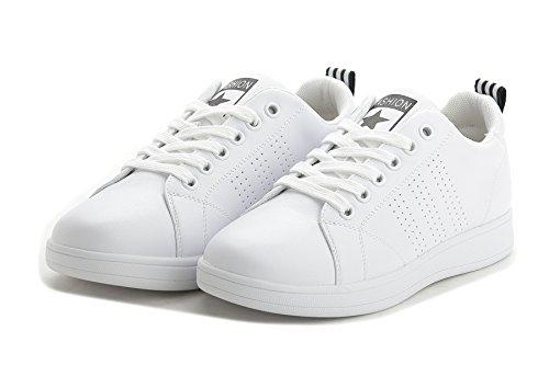 Sportliche Damen Sneakers Low Turnschuhe Flats Schnürer Retro Weiß