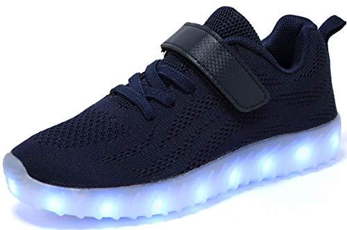 nishiguang Kinder Jungen Mädchen LED Leuchten Schuhe USB Lade Blinken Turnschuhe Trainer Blau37