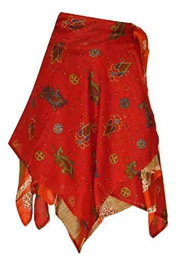 Magic Wrap Kleid (Dancers World Ltd Reversible Diamond Cut Indian Wickelrock Magic Skirt Sari Wickelrock aus Seide/Top/Kleid - 24 Zoll Drop (F39))