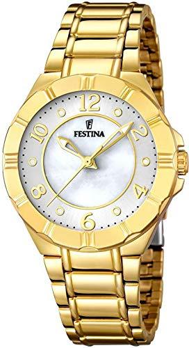 Festina Damen Analog Quarz Uhr mit Paqué or Armband F16727/2