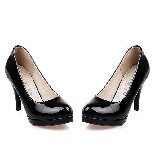 balamasa Mesdames High-Heels à enfiler cuir verni massif pumps-shoes Noir