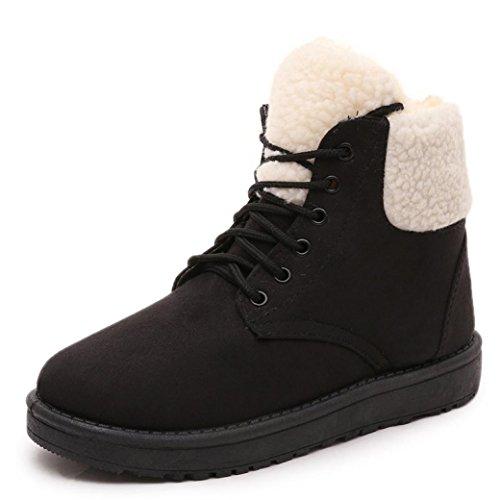 Frauen Winter Warm schnüren sich oben Schnee-Knöchel-Aufladungen flache Schuhe (36, Gelb)