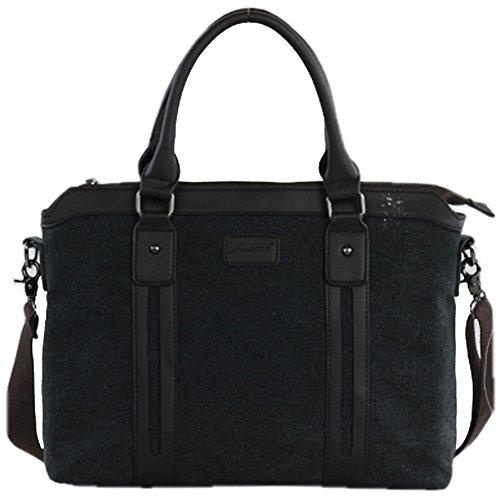 Paonies PU Segeltuch Mann Arbeit Business Tasche Stil Handtasche (Grau) Schwarz