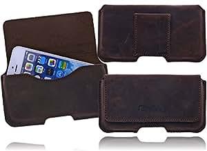 Burkley PIANO-ANTIK-XL Exklusive Slim Line Antik Leder Gürteltasche Quertasche für das Samsung Galaxy S4 i9500 / S4 LTE i9505 mit Gürtel Schlaufe und Magnetverschluss in Rustikal Braun / Brown