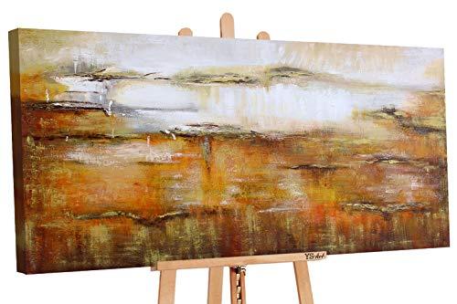 YS-Art Cuadro acrílico Ilusion de Oro  Pintado a Mano   130x70 cm   Arte Moderno   Lienzo de Pared   único   Castaño