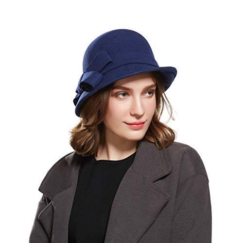 Haimeikang Frauen Elegante Cloche Eimer Hut weichen Stricken Wolle Slouch Falten Beanie Cap Solid Color Vintage mit Bogen Akzent für Frauen Mädchen (Navy blau) -