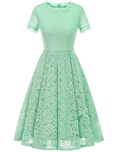 Dresstells Damen Elegant Kleid Spitzenkleid Kurzarm Cocktailkleider Party Ballkleid Mint L