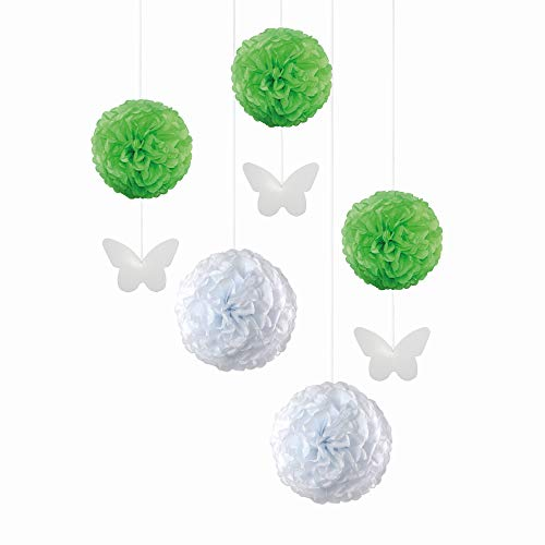 EinsSein 5er Mix Pom Poms mit Anhänger 3X Schmetterling Aanhänger hellgrün 2X Large (Weiss) Pompons Hochzeit Wedding Pompons Dekokugel