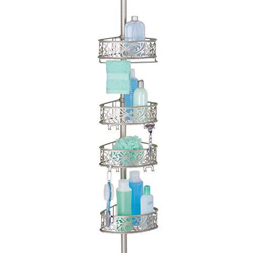 MetroDecor mDesign Shower Caddy für die Ecke aus Metall – ausziehbares Duschregal ohne Bohren fürs Bad – stilvolle Duschablage für Shampoo, Conditioner etc. – mit floralem Muster – mattsilberfarben