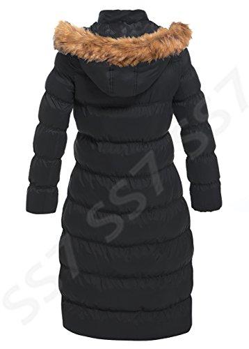 SS7 Neuer Frauen gepolstert Pelzkapuze langer Winter Parka Mantel, schwarz, grau, sizes 8 to 16 Schwarz