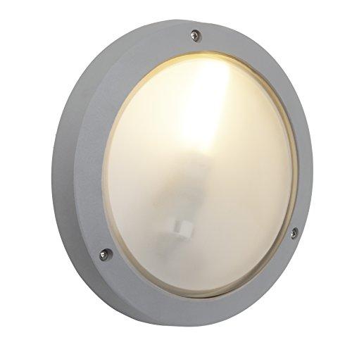 Brilliant 48480/11 Skipper Außenwand- / Deckenleuchte, flach, 1-flammig, E27, 11 W, LED geeignet, Alu-Druckguss/Glas, IP54, staub- / spritzwassergeschützt, titan