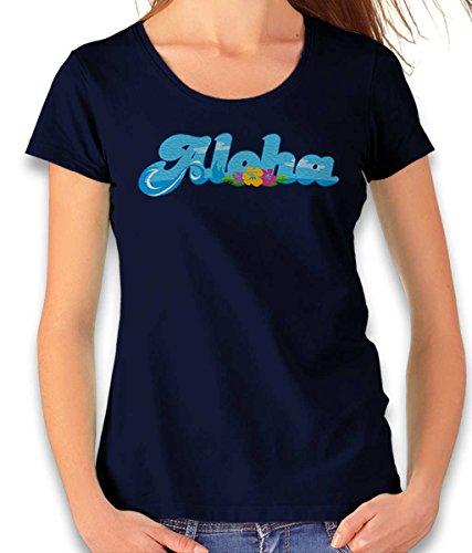 shirtminister Aloha Bubble Logo Damen T-Shirt Dunkelblau 2XL (T-shirt Bubble Logo)